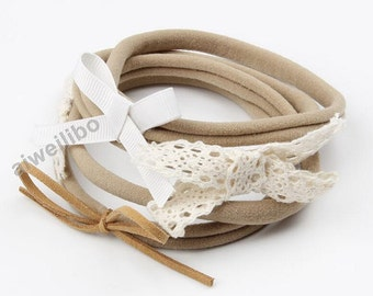 Bow Headband, Lace Bow Headband, Bow Headband, Baby Girl Headband