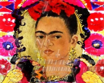 Antique Frida Kahlo Fabric Portrait Birds Flowers Mexican Altered Art FK246