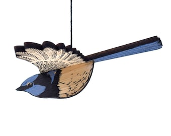 Wren Mobile, Hand Printed Wooden Lino Printed Hanging Bird, Fairy Wren, Australian Bird,