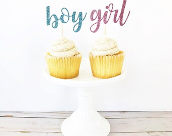 Boy or Girl Cupcake Toppers / Gender Reveal Cupcakes / Gender Reveal Party / Blue or Pink / He or She / Question Mark / Boy Girl Cake Topper