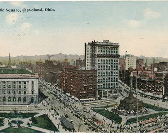 Public Square, CLEVELAND, OHIO. Posted to UK 1930s. Vintage, Collectable, Junk Journal.