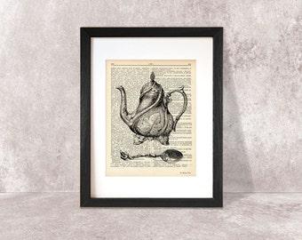 Coffee pot retro print-coffee pot dictionary print-kitchen wall art-coffee pot on book page-spoon print-victorian print-NATURA PICTA-DP005