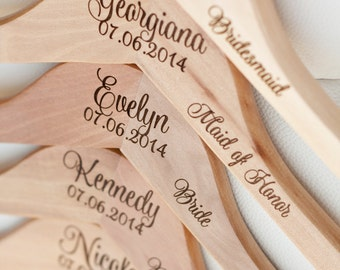 11 - Personalized Bridesmaid Hangers - Engraved Wood Hangers