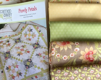 Purely Petals -  Quilt Kit With Hazel and P;um Fabric by Fig Tree from Moda