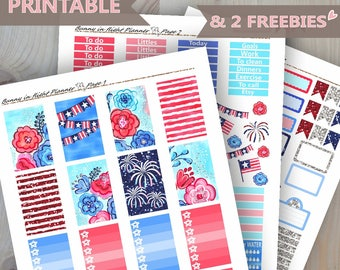 4th Of July Planner Sticker Kit,Weekly Planner Sticker Kit,Printable Planner Stickers,4th Of July Stickers,July 4th Sticker Kit, Planner Kit