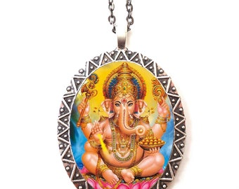 Ganesh Necklace Pendant Silver Tone - Ganesha Elephant God Hindu Hinduism Spiritual Spirituality