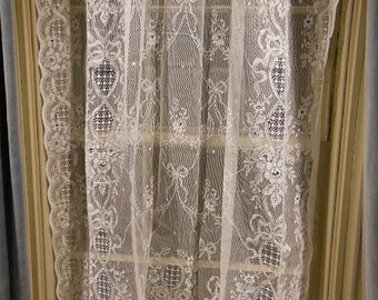 1 Pair of Vintage Pure White All Cotton Lace Curtain Panels