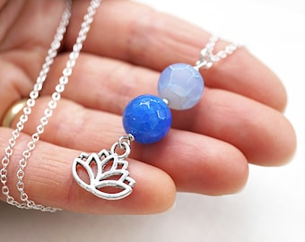 Mothers Day Gift Lotus Necklace Sterling Silver Flower Necklace Light Blue Agate Pendant Chakra Yoga Necklace Meditation Harmony Balance