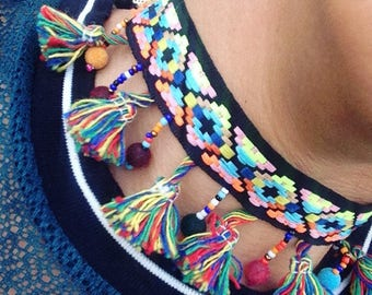 Native Tribal Festival Funky Inspired Fringe Pom Pom Choker with Gold Chain