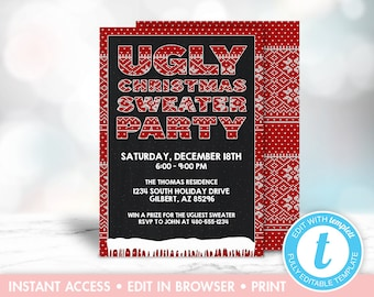 Ugly Sweater Invitation, Christmas Party Invitation, Chalkboard Christmas Invitation, Ugly Sweater Party, Printable Christmas Invitation