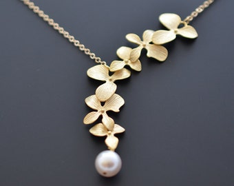 Lariat necklace,Orchid necklace,Pearl necklace,Gold necklace,Wedding necklace,Bridal necklace,Anniversary gift,Mothers gift,tmj00073