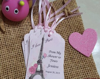 """Personalized Favor Tags 2.5""""L x1.8""""w, Paris tags, Thank You tags, Favor tags, baby shower,Birthday  Favor tags, girl Birthday, Paris Party"""
