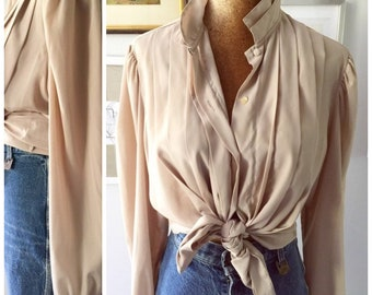 1980s beige tan pleated poet blouse / fits up to L