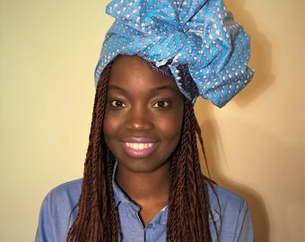 Turban wax / Head tie / African print headwrap / ankara head scarf / African headtie / wax print head wrap / b;ue headscarf - FREE SHIPPING