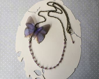 Handmade Purple Lilac Silk Organza Butterfly Necklace with Crystal Beads Central Chain - One of a Kind