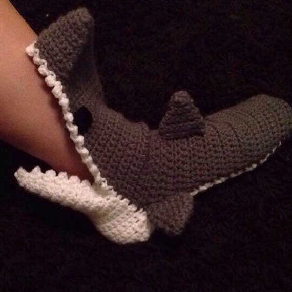 Crochet Shark Slippers For Kids And Adults
