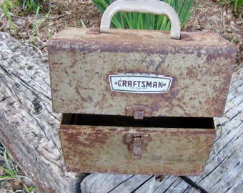 Old craftsman-vintage craftsman tool box-old metal toolbox-vintage metal storage-metal box crate