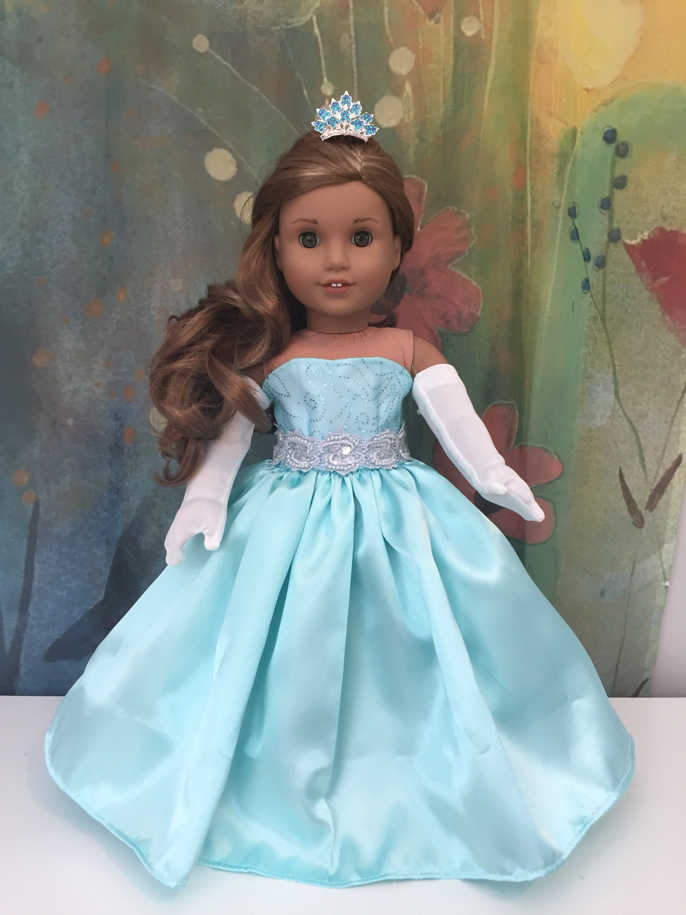 American Girl Aqua Ball Gown Outfit