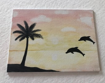 Watercolour dolphin sunset painting