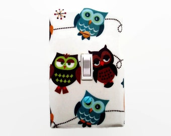Owl Light Switch Cover - Woodland Nursery - Owls Switch Plate - Blue Brown Green Owls
