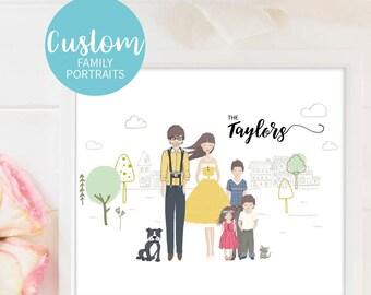 Personalised Portrait Custom Family Illustration Digital Custom Family Pic Family Portrait Custom Family Portrait Custom Family Art Print