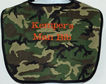 Camo Man Bib, Camouflage, Custom Personalized Adult Bib, New Grandparent Gag Gift, Birthday, Grandpa, Hunter,  Grandma, Poppy,  AGFT 1301