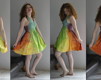 Dress / Psychedelic / Unique Tie Dye/ TieDye / Hand made / Colors / Psytrance / Bleach Dye