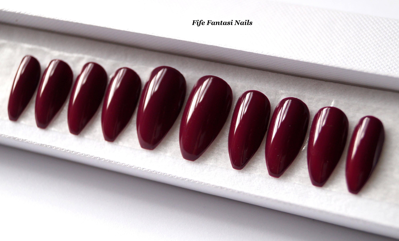 Burgundy Nails, Stiletto Nails, Fake nails, Halloween nails, Kylie ...