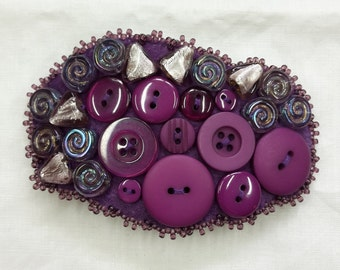 "Barrette bead embroidery beaded ""purple button mix"" glass seed beads glass beads leather"