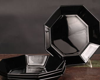 Luminarc Black Glass Octagonal Bowls, France, Set of 4
