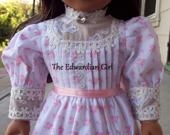 OOAK pink and white Edwardian era doll dress pink ribbon for 18 inch play dolls such as American Girl, Springfield, OG. Made in USA