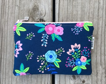 Navy Floral Small Cosmetic Bag, Small Pouch, Makeup Bag, Small Pouch Purse, Small Cosmetic Pouch, Zipper Pouch, Makeup Pouch