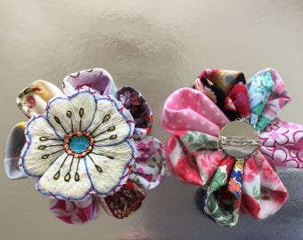 Handmade unique flower brooches