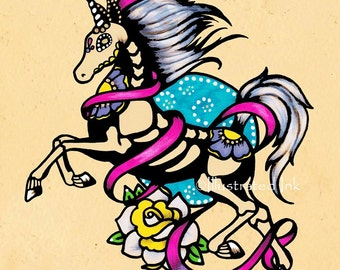 Day of the Dead UNICORN Tattoo Flash Art Print 5 x 7, 8 x 10 or 11 x 14
