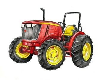 "Cherry Red Farm Tractor watercolor print, 8x10"""