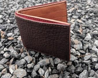 Handmade brown leather 6 pocket bi-fold wallet