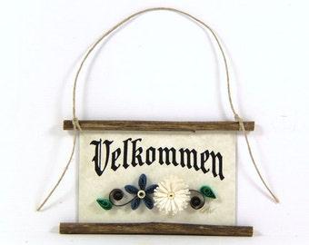 Paper Quilled Magnet 486 - Velkommen - Danish Welcome, Danish welcome sign, Quilled Ornament, Party Favor, 3D Paper Quilling, Kitchen Decor