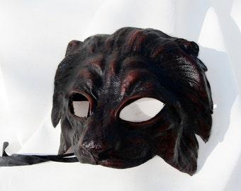 lion mask black dark leather costume cosplay larp renaissance wicca pagan magic burning man fantasy lannister game of throne