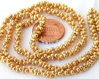 Gold Farfalle Czech Glass Beads 19-Inch Long Strand