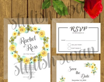 Happy - Editable - Printable Wedding Invitation Suite