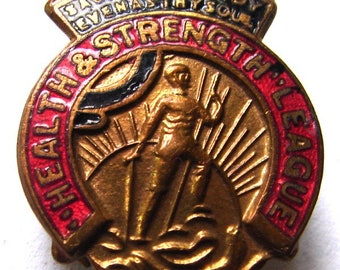 HEALTH & STRENGTH LEAGUE Vintage Health and Strength League Buttonhole enamel metal lapel pin badge
