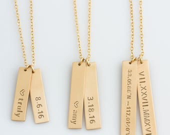 Vertical Bar Necklace,Name Bar Necklace,Personalized,Kids Name Necklace,Bridesmaid Gift,Anniversary Gift, Gift for Her,LEILAJewelryShop,N219