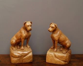 Vintage Hand Carved Wooden Boxer Dog Bookend Pair 1950s