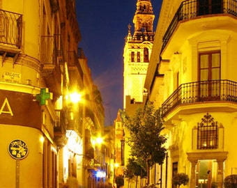 Fine Art Color Travel Photography of Sevilla Spain at Night