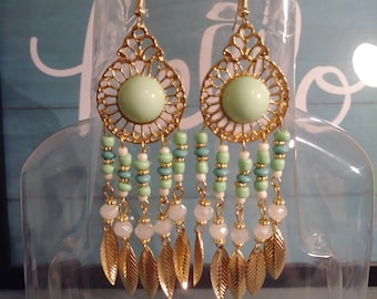 Gold &Teal Green or Teal Blue Feathered Earrings
