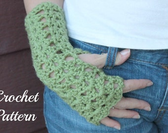 CROCHET PATTERN - Crochet Gloves Pattern, Fingerless Mittens Pattern, Fingerless Gloves Pattern, Arm Warmer Pattern, Wrist Warmer Pattern