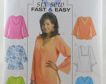 Butterick 4684, Misses' Top and Tunic Sewing Pattern, Sewing Pattern, Six Sew, Fast and Easy, Misses/Misses Petite Size Xsm - Med, Uncut
