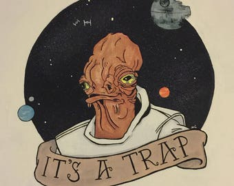 It's a Trap! Star Wars/Return of the Jedi Inspired Painting, Acrylic on Canvas