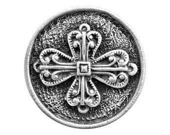 2 Filigree Cross 15/16 inch ( 24 mm ) Pewter Metal Buttons
