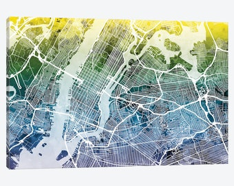 new york city street map new york city map canvas wall art gradient urban street map map of new york downtown manhattan nyc decor gift